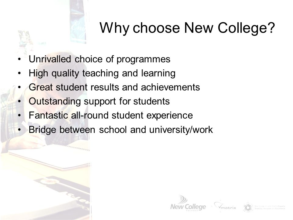 Why choose New College Unrivalled choice of programmes