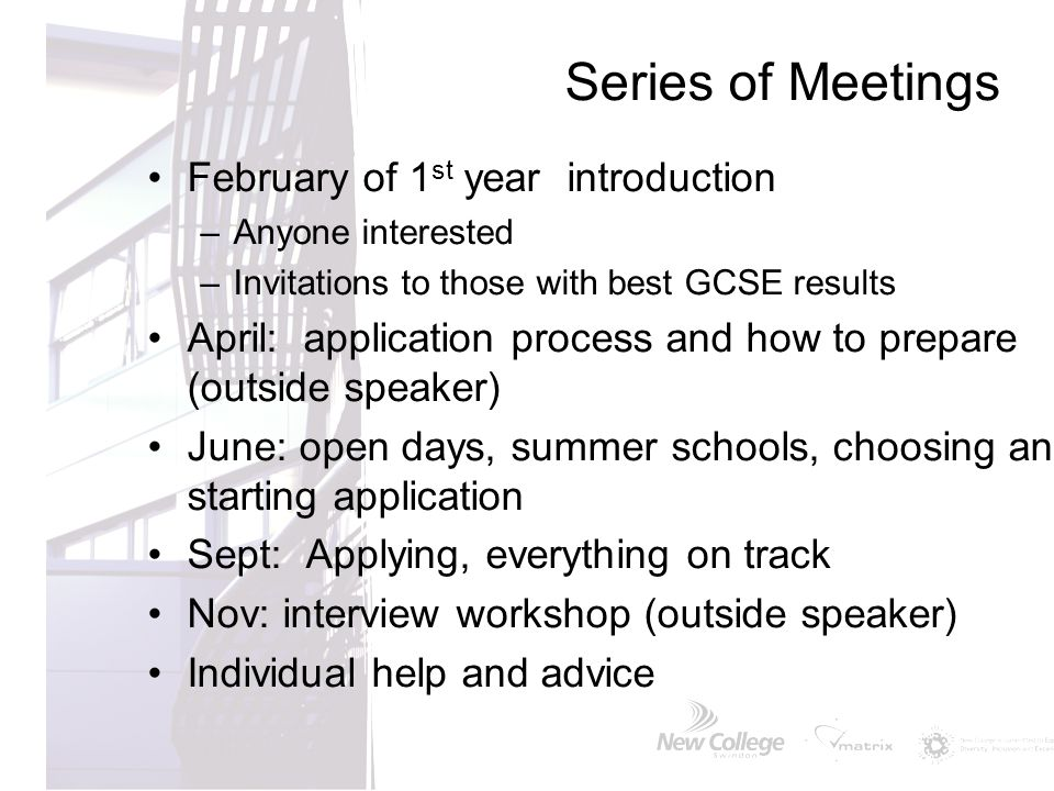 Series of Meetings February of 1st year introduction