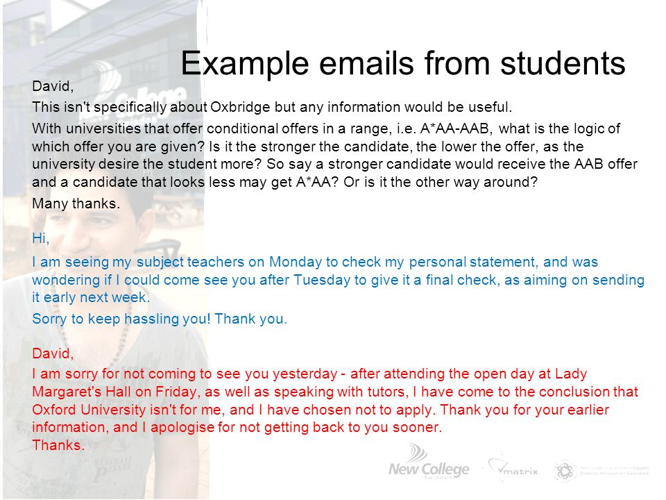 Example emails from students