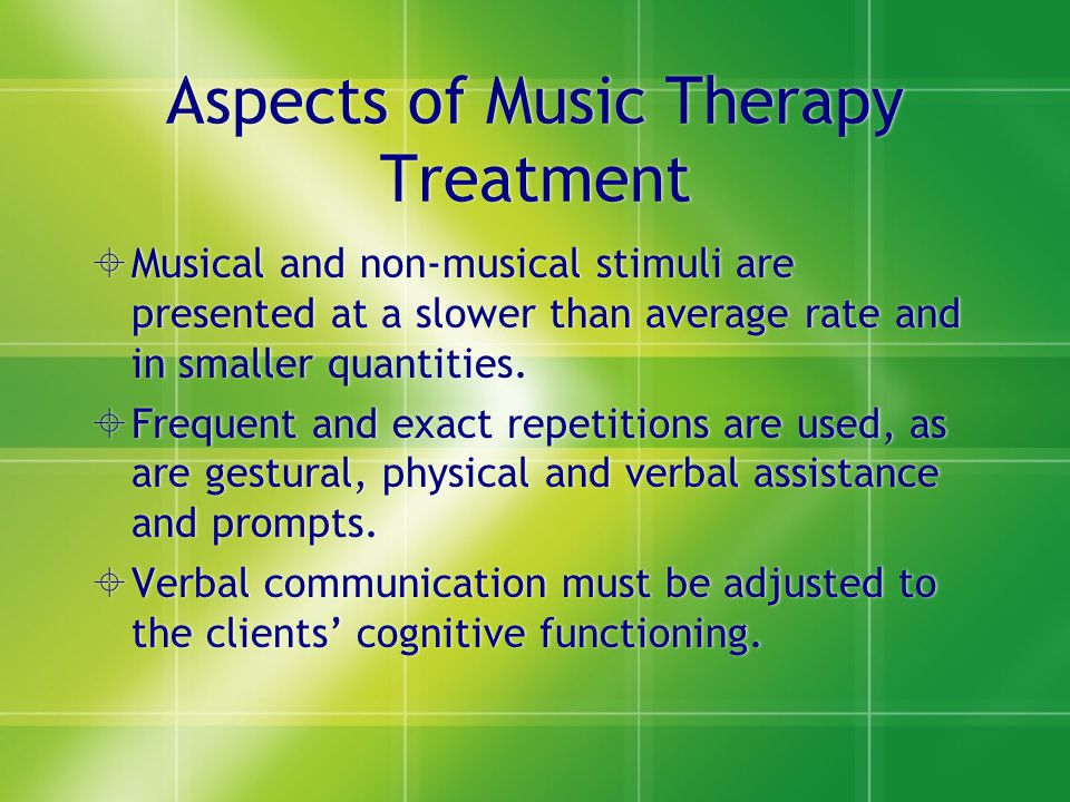 Aspects of Music Therapy Treatment
