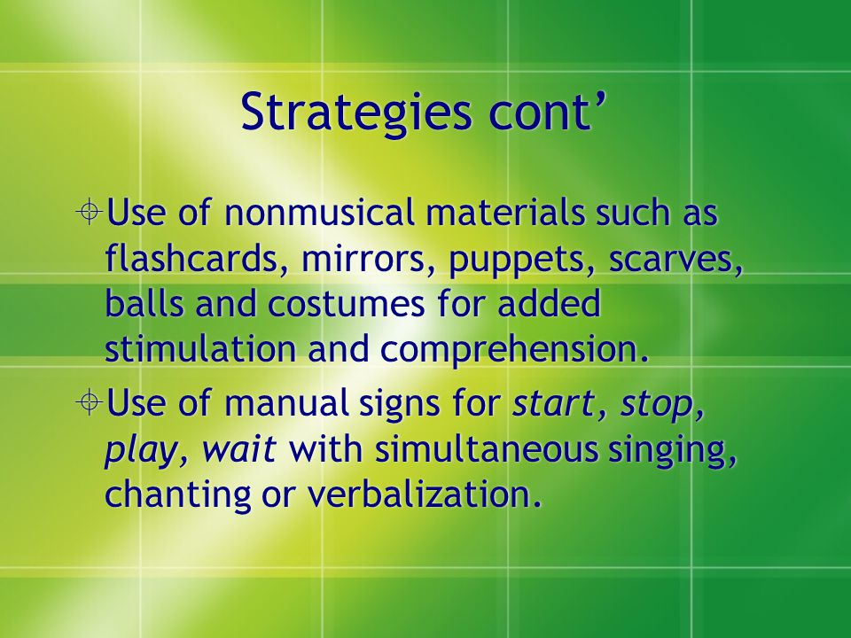 Strategies cont'