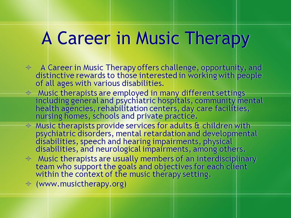 A Career in Music Therapy