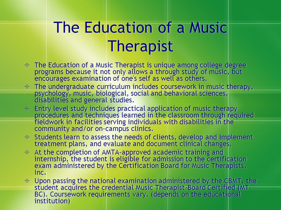 The Education of a Music Therapist