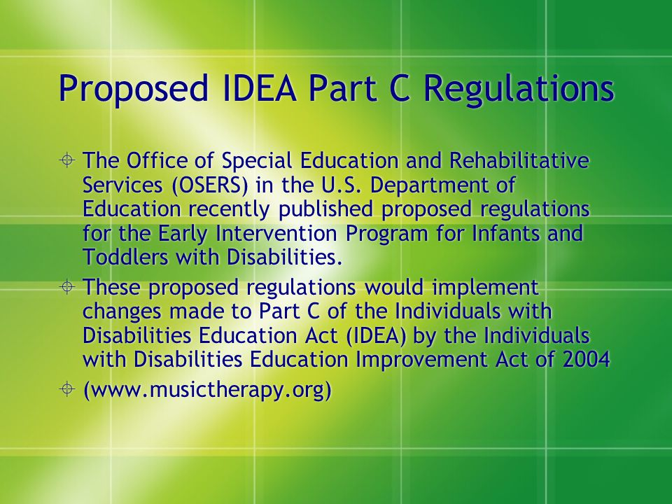 Proposed IDEA Part C Regulations