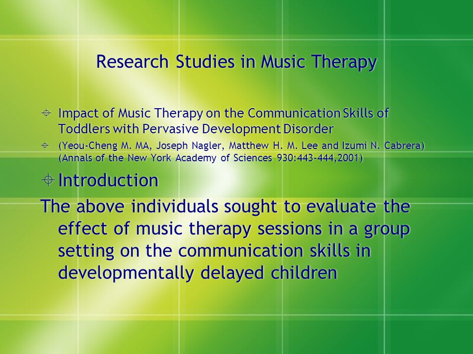 Research Studies in Music Therapy
