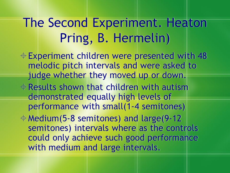 The Second Experiment. Heaton Pring, B. Hermelin)
