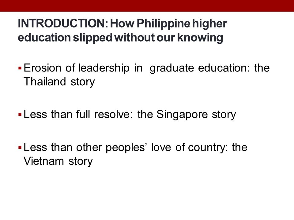 INTRODUCTION: How Philippine higher education slipped without our knowing