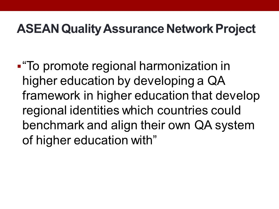 ASEAN Quality Assurance Network Project