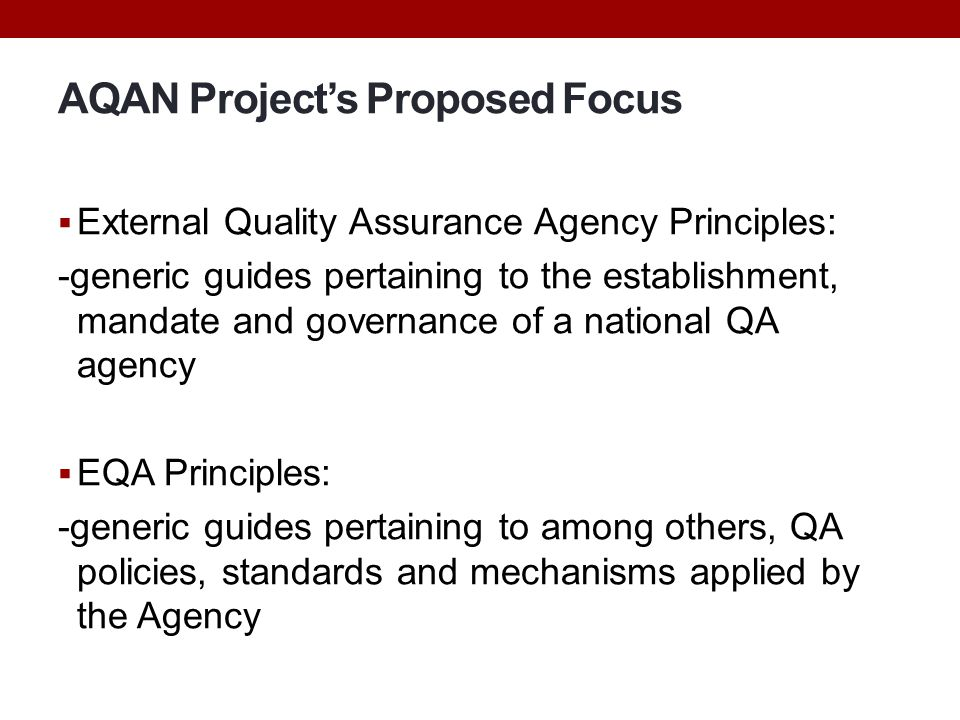 AQAN Project's Proposed Focus