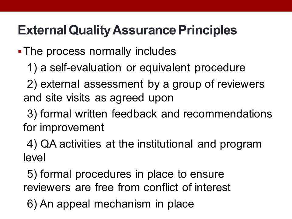 External Quality Assurance Principles