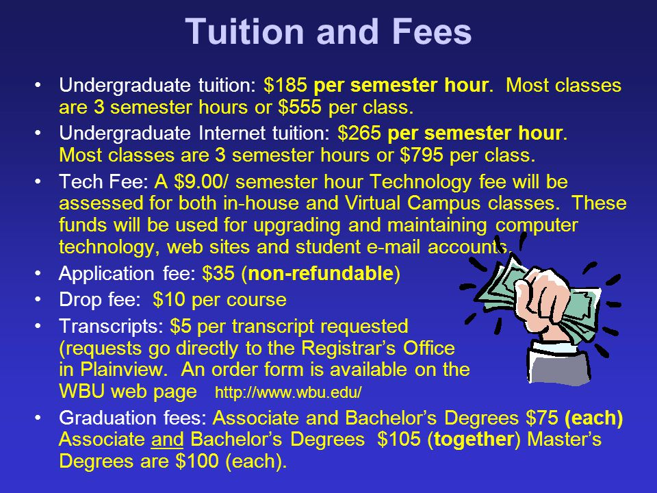 Tuition and Fees Undergraduate tuition: $185 per semester hour. Most classes are 3 semester hours or $555 per class.