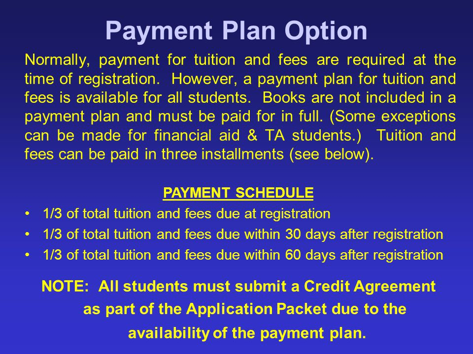NOTE: All students must submit a Credit Agreement