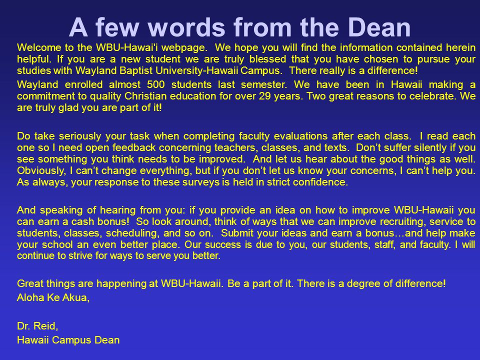 A few words from the Dean