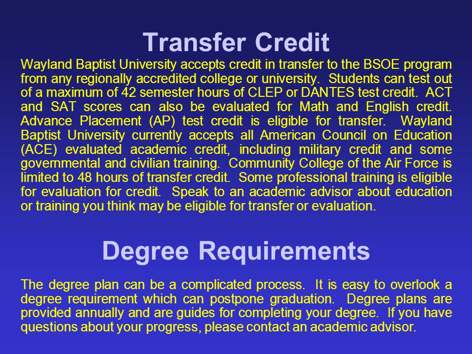 Transfer Credit Degree Requirements