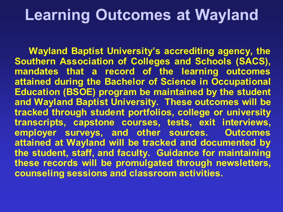 Learning Outcomes at Wayland
