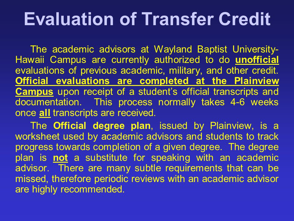 Evaluation of Transfer Credit