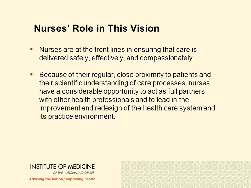 Nurses' Role in This Vision