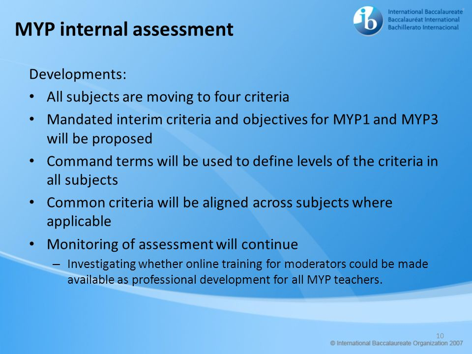 MYP internal assessment