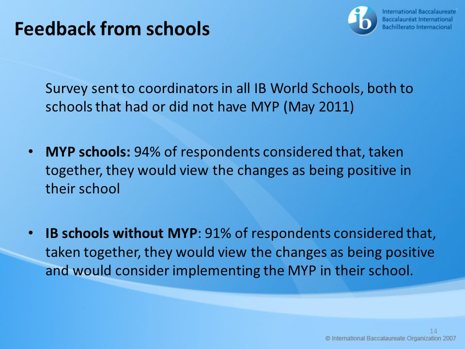 Feedback from schools Survey sent to coordinators in all IB World Schools, both to schools that had or did not have MYP (May 2011)
