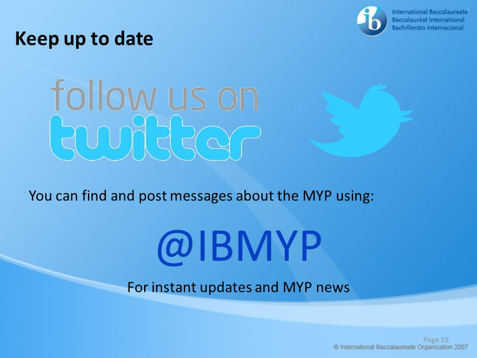 For instant updates and MYP news