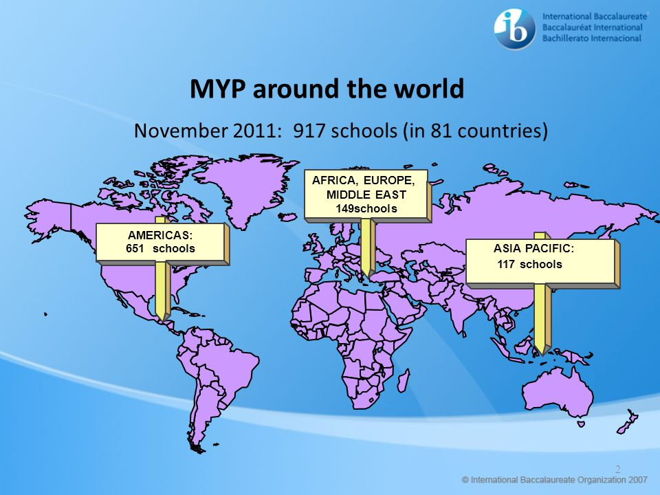 November 2011: 917 schools (in 81 countries)