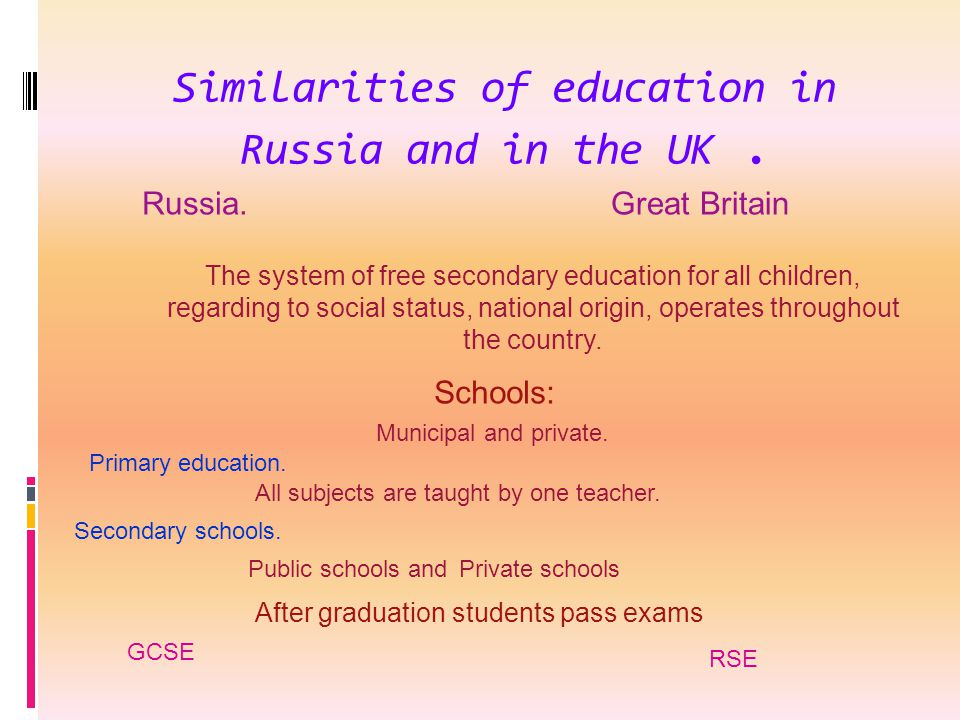 Similarities of education in Russia and in the UK .
