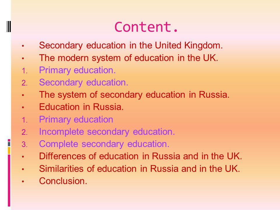 Content. Secondary education in the United Kingdom.