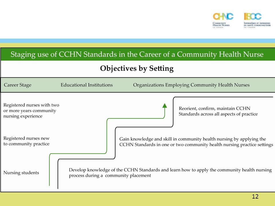 The use of the CCHN Standards will vary according to the phase of career of the CHN. It is the responsibility of educational institutions to provide nursing students with opportunities to learn about the CCHN Standards. Organizations employing nurses would expect to provide opportunities for nurses in their first two years in community health to apply the CCHN Standards. Experienced nurses would need opportunities to expand their application in different areas or in more depth, possibly with the expectation of attaining certification.