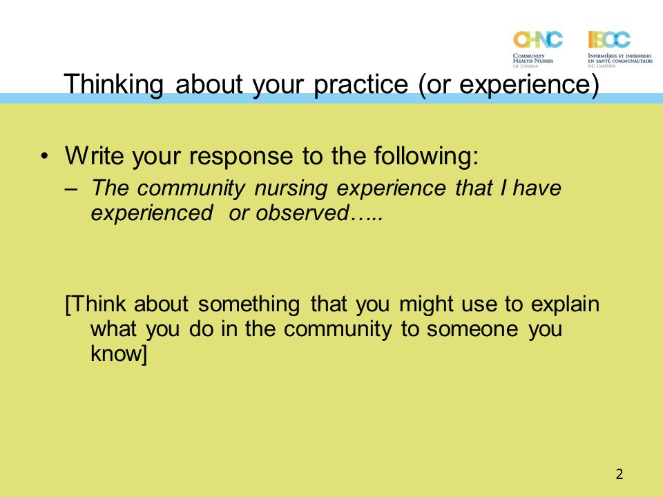 Thinking about your practice (or experience)
