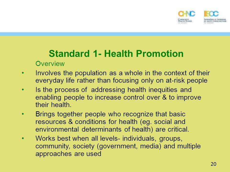 Standard 1- Health Promotion