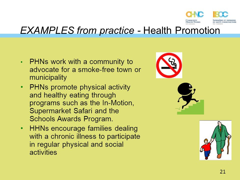EXAMPLES from practice - Health Promotion