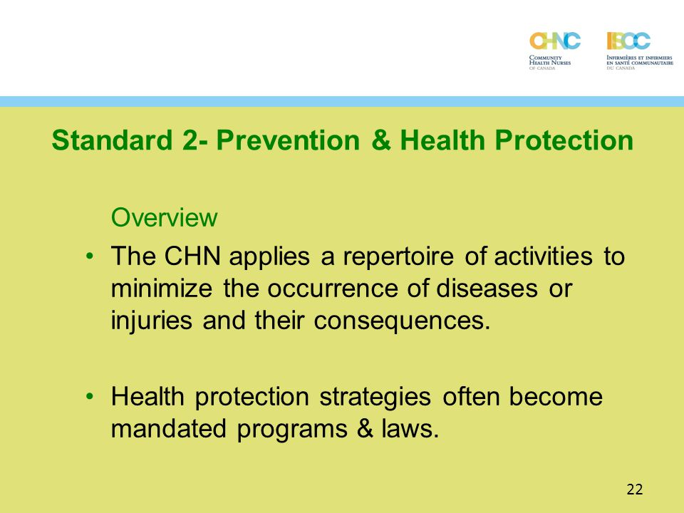 Standard 2- Prevention & Health Protection
