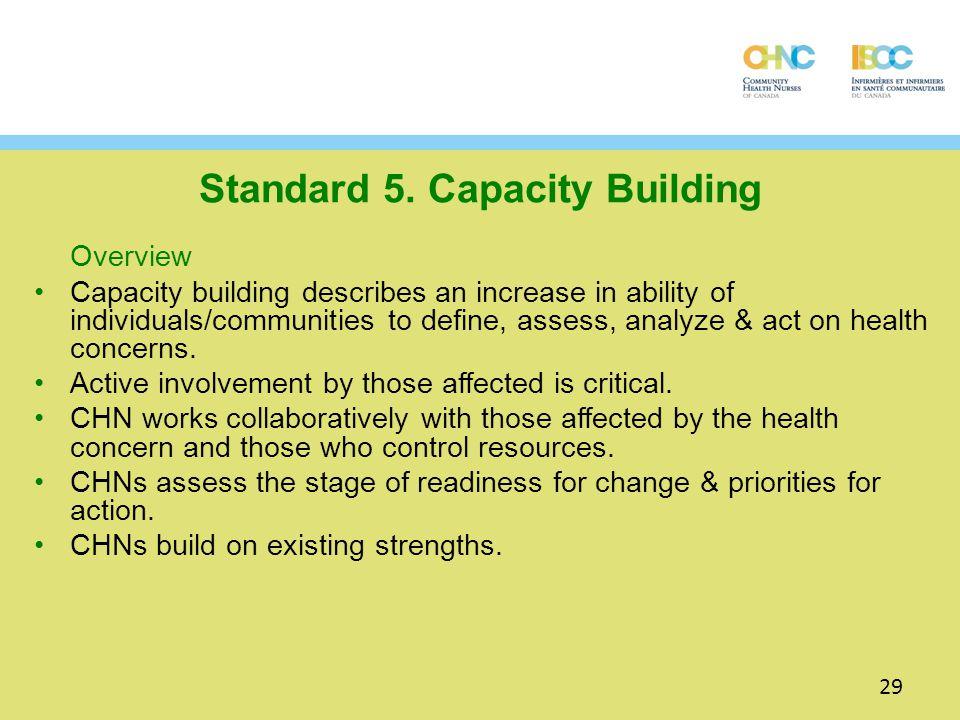 Standard 5. Capacity Building