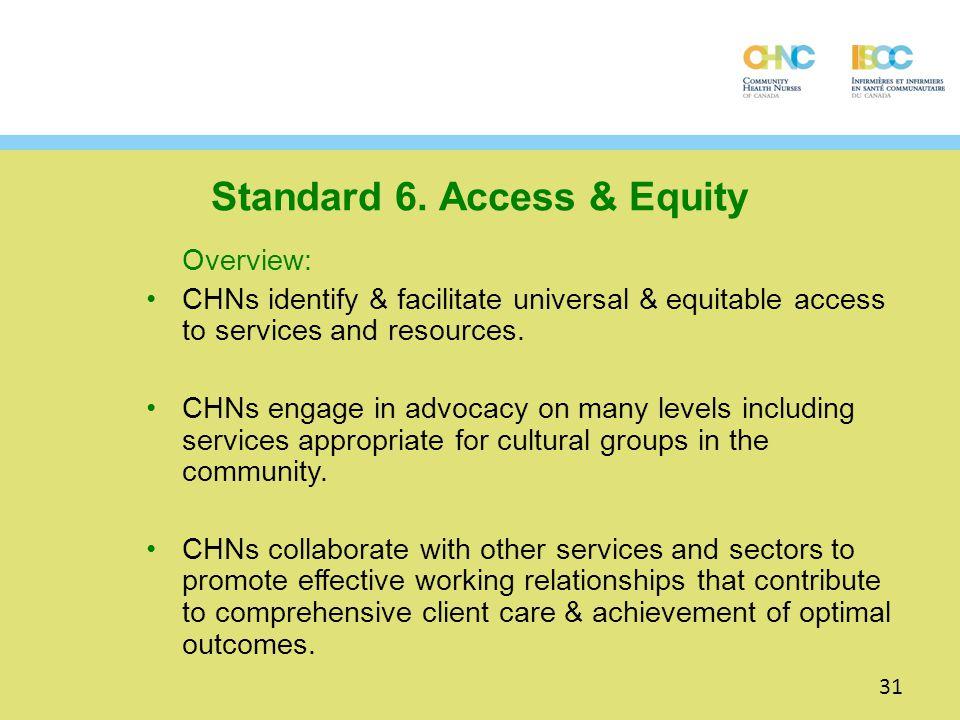 Standard 6. Access & Equity