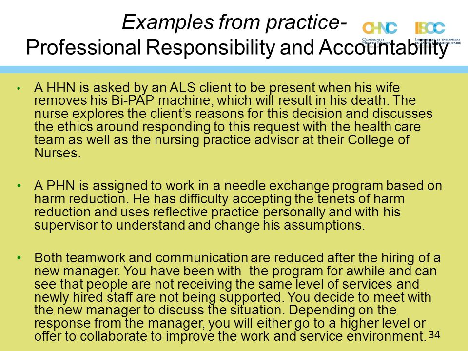Examples from practice- Professional Responsibility and Accountability