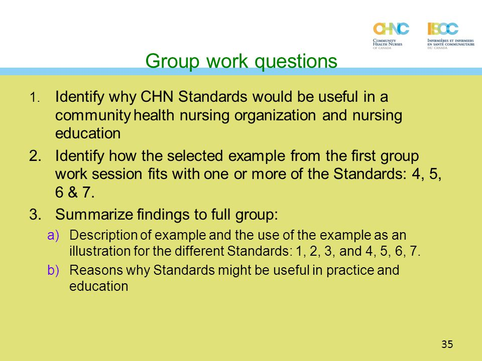 Group work questions 1. Identify why CHN Standards would be useful in a community health nursing organization and nursing education.