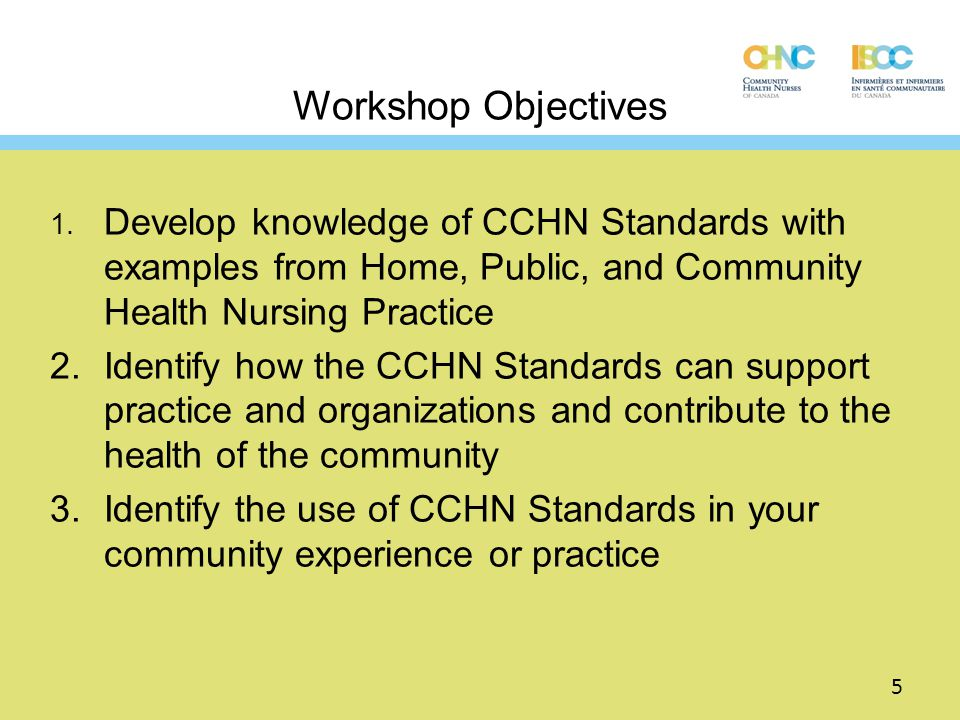 Workshop Objectives 1. Develop knowledge of CCHN Standards with examples from Home, Public, and Community Health Nursing Practice.