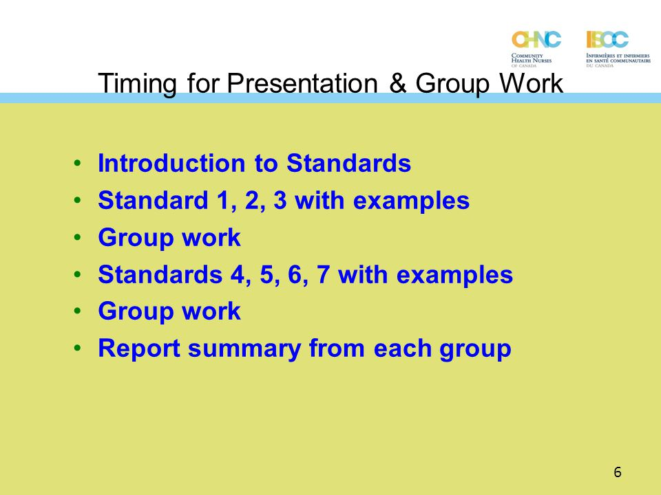 Timing for Presentation & Group Work