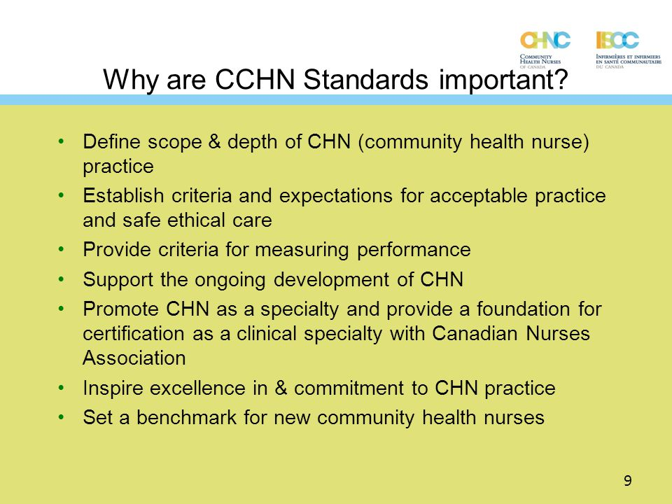 Why are CCHN Standards important