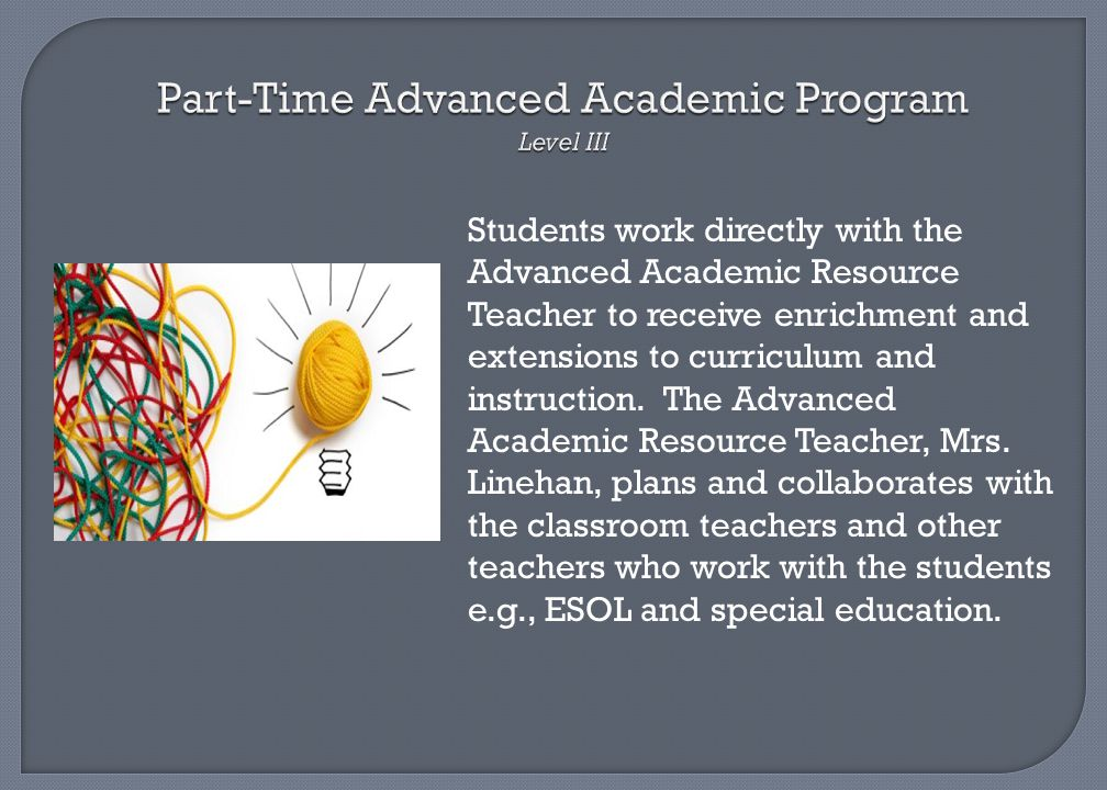 Part-Time Advanced Academic Program Level III