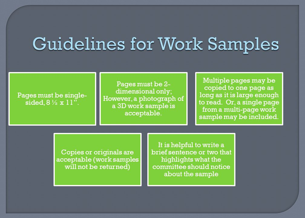 Guidelines for Work Samples