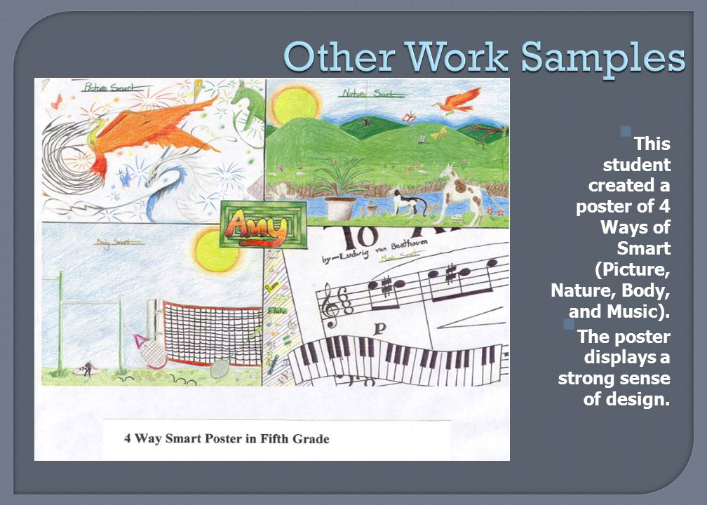 Other Work Samples This student created a poster of 4 Ways of Smart (Picture, Nature, Body, and Music).