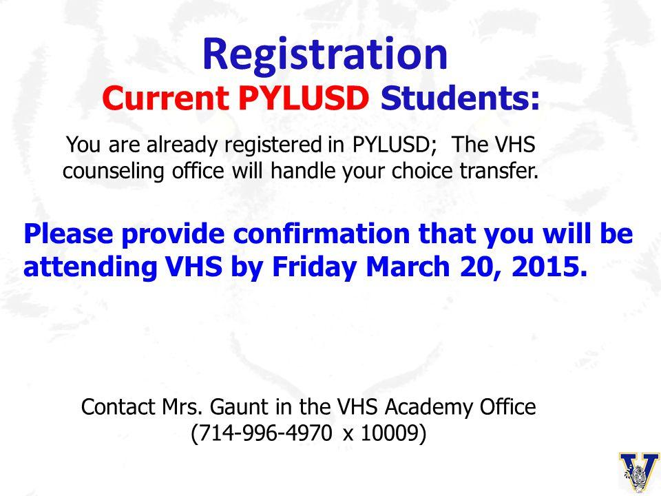 Registration Current PYLUSD Students: