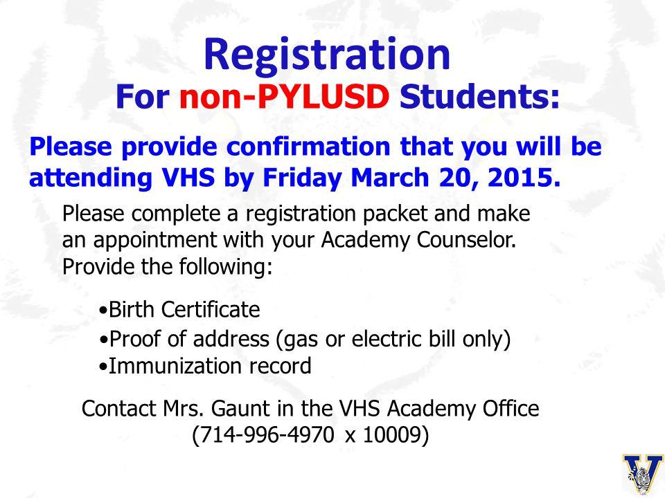Registration For non-PYLUSD Students: