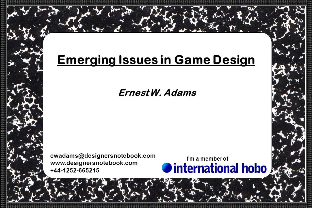 Emerging Issues in Game Design