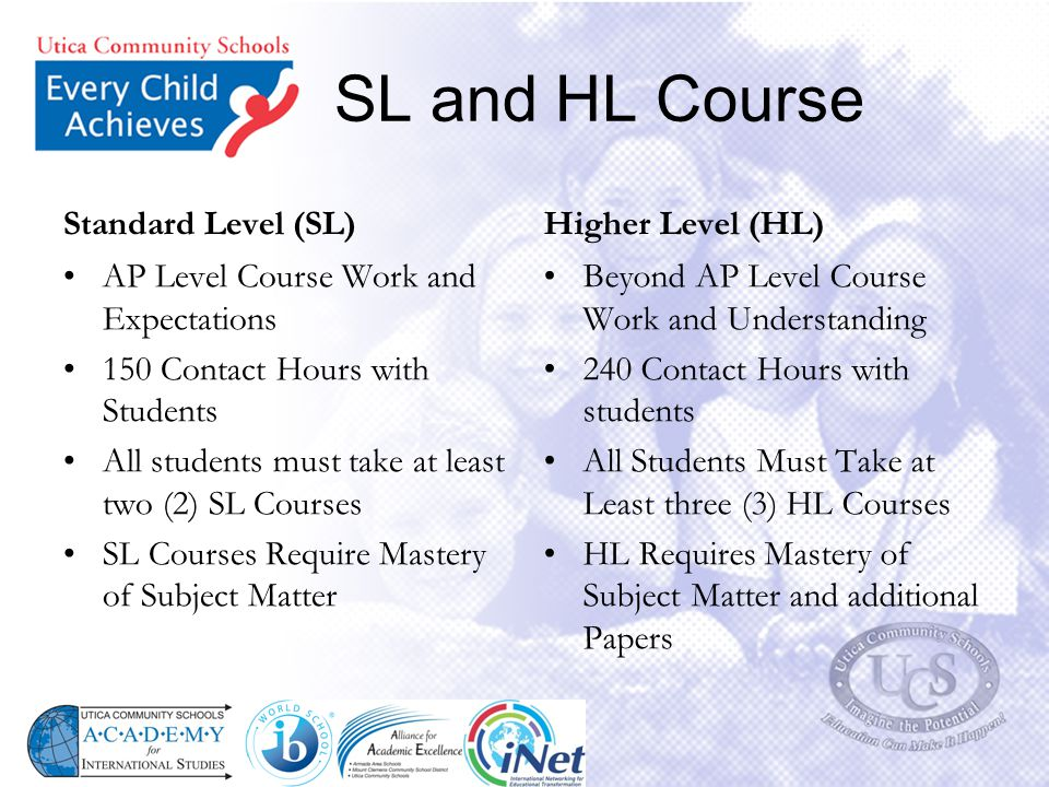 SL and HL Course Standard Level (SL) Higher Level (HL)