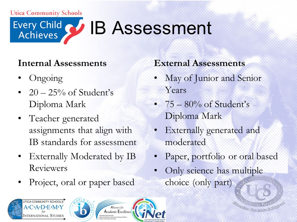 IB Assessment Internal Assessments External Assessments Ongoing