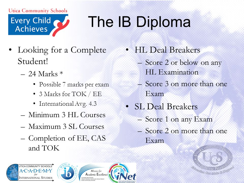 The IB Diploma Looking for a Complete Student! HL Deal Breakers