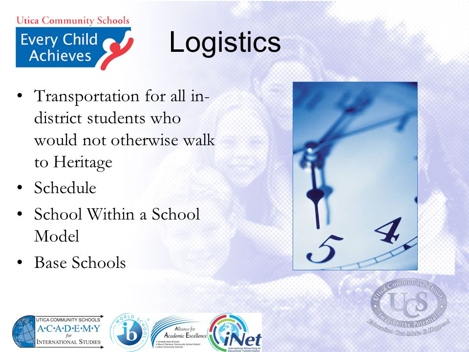Logistics Transportation for all in-district students who would not otherwise walk to Heritage. Schedule.