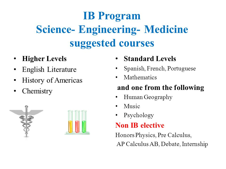 IB Program Science- Engineering- Medicine suggested courses